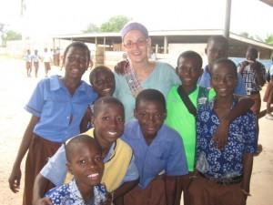 Katchel with children in Ghana