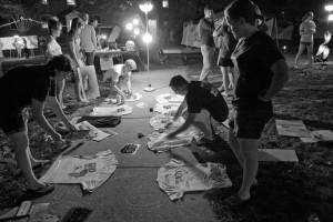 Students make t-shirts at the Night of Nets.