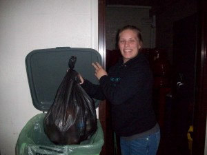 Sophomore Veronica Lathroum practices good recycling habits.