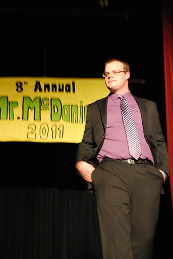 Senior Paul Donoghue during the FormSenior Paul Donoghue during the Formalwear portion of the Mr. McDaniel competition. Photo by Chris Bolesta. Check out Picture Speak Louder to see more Mr. McDaniel pictures.