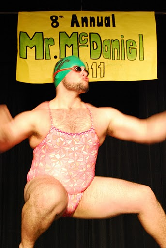 Winner Spencer Fothergill during the swimsuit portion of the Mr. McDaneil competition. Photo by Chris Bolesta. To see more Mr. McDaniel photos, head to Pictures Speak Louder.