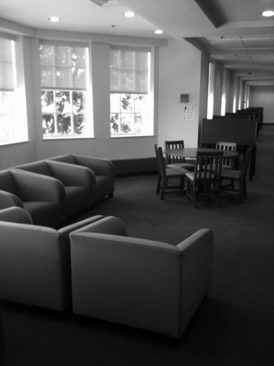 A cozy place to study in Hoover library.