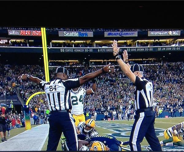 This was the controversial game-ending play Monday night, flanked by two very indecisive replacement referees, each with a different call. Source: midwestsportsfans.com