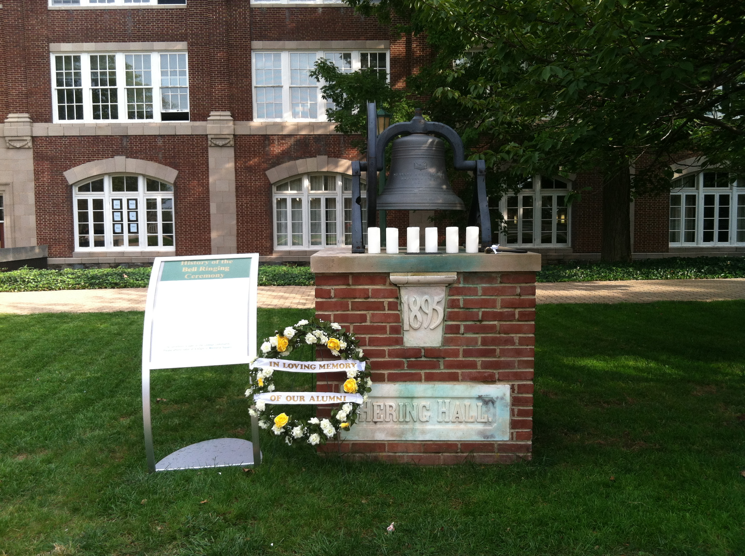 The main bell in red square was decorated to commemorate McDaniel alumni who have passed away in the last six decades.