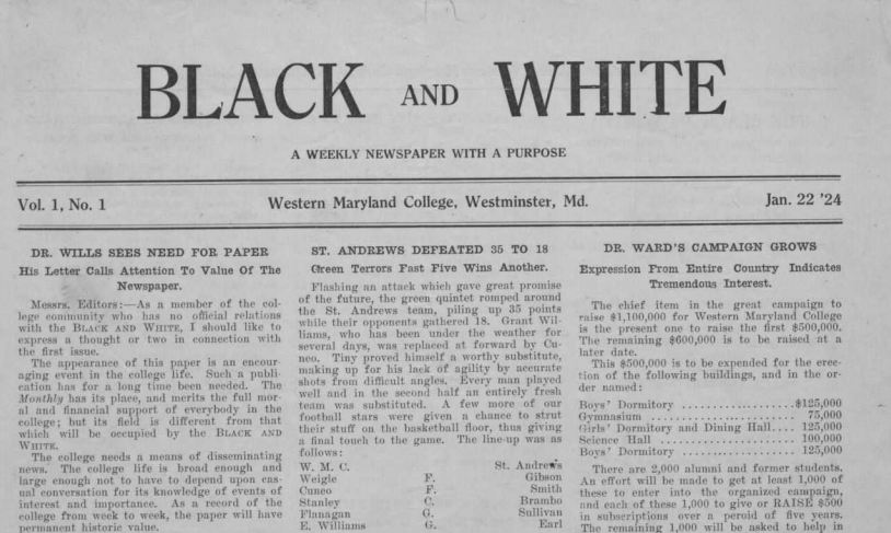 This is the front page of the oldest school newspaper in the online archives, Black and White, from 1924.