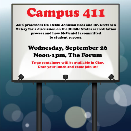 A Campus 411 session on Sept. 26 involved students in the Middle States accreditation process.