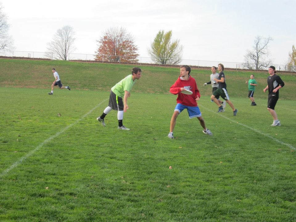 Students compete in the Ultimate Frisbee tournament on Sunday, November 11.