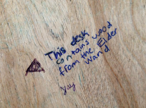 Found on a desk of the second floor of Hill Hall (courtesy of Annie Brown).