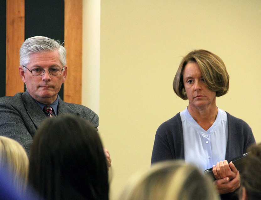 Director of Campus Safety, Mike Webster, and Vice President Beth Gerl listen patiently to students with questions at the Campus 411