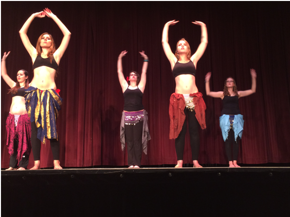 """Members of McDaniel's Belly Dance club perform before """"The Vagina Monologues"""""""