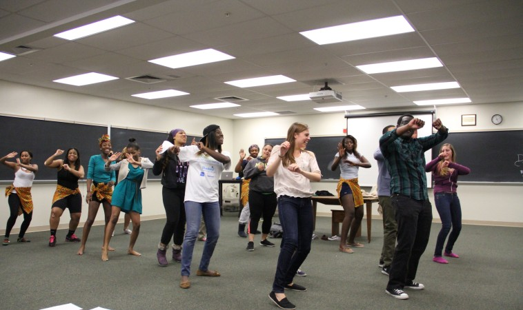 "Students rehearse for ""United,"" a multicultural show to take place in Red Square on Friday April 11."