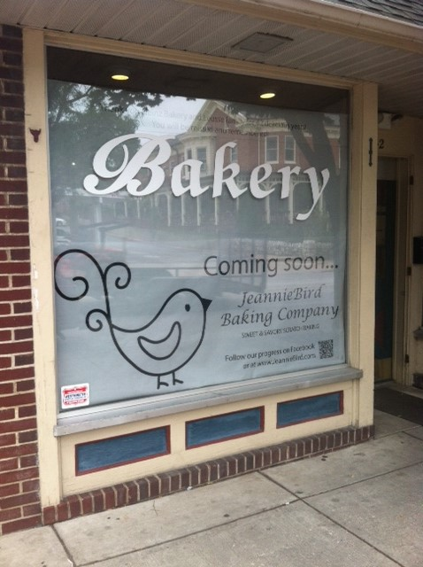 JeannieBird Baking Company will open on Main Street in October where Heinz Bakery was formerly located.