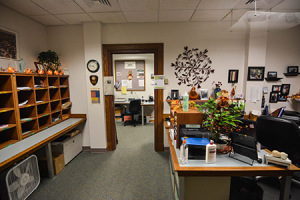 Fall and Halloween decorations are present in the English department office and in offices all over campus.