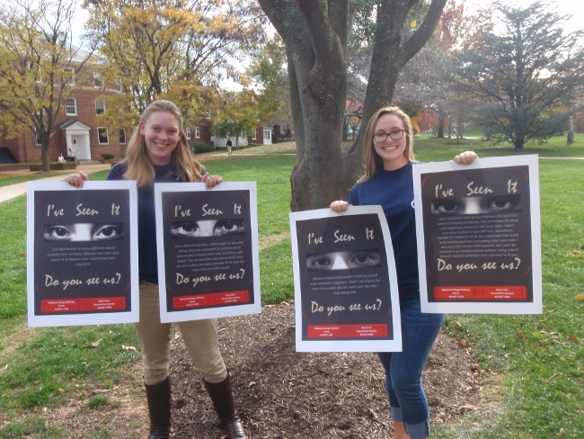 McDaniel students Leigh Brownell and Taylor Niemetz have created a sexual assault awareness project that attracted visibility on campus and attention from the National Guard.