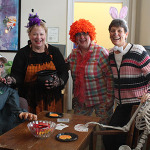 The women of Academic Affairs dressed up for trick-or-treaters.