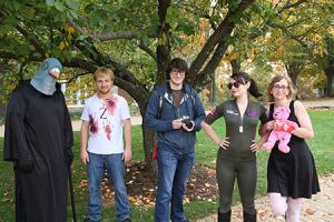 Brandon Sher, Adam Vaughn, Brent Linaweaver, Valerie Cummings and Charlotte Gertzog celebrate Halloween in Red Square.