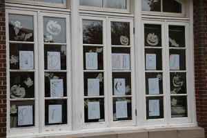 The McDaniel Free Press decorated its office windows for Halloween.