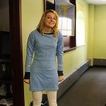 Victoria Kolton, a grad student, dressed in a Starfleet uniform.