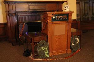 A spooky podium in McDaniel Lounge