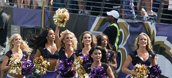 Members of the Baltimore Ravens cheerleaders during a game between the Ravens and the Carolina Panthers at M&T Bank Stadium on Sept. 28 in Baltimore. Image by Keith Allison on Flickr.