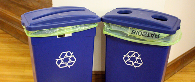 Recycling Bins in Hill Hall. Photo by Annie Brown.