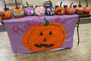 A Relay for Life table outside of Glar showed off painted pumpkins.