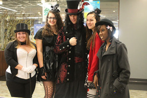 Danielle Bruck, Ashton Leftridge, Chris Smith, Kristen Gindlesperger, and Sierra Johnson pose for photos in their costumes.