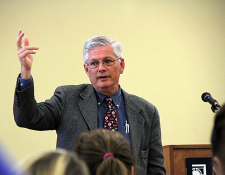 Mike Webster, Director of Campus Safety, instructs students on appropriate protocol during an assault by an active shooter during a Campus 411 in Oct. 2013. Webster will retire as the Director of Campus safety at the end of this year. (Photo by Melanie Ojwang.)