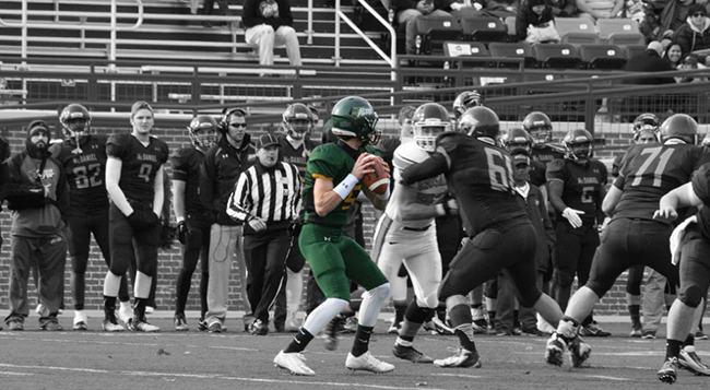 Quarterback and sophomore Matty Callahan in the Nov. 8 game against Susquehanna. Photo by Caitlin Eversmier for McDaniel College.