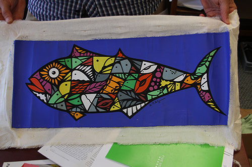 """This is a piece of artwork I got in Cuba,"" Becker says.  ""On the inside of the fish, you can see the birds that make it up."""