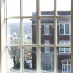 The view of Hill Hall from the third floor of the Library
