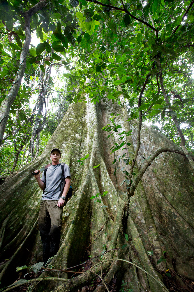 Dr. Jason Scullion next to a lush tree in the Amazon. Photo by Tom Haney.