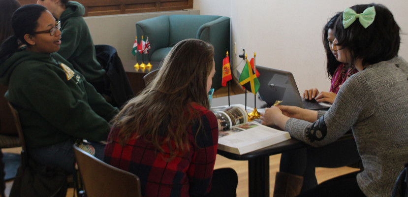 Students chat about studying abroad at the IPO's Global Cafe.