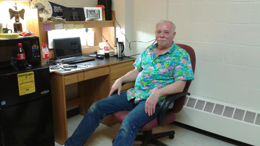 Allen Calvert in his Rouzer dorm room.