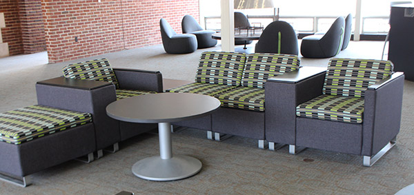 Ensor Lounge received a small makeover this semester with the addition of new furniture. However, students and faculty have mixed feelings about new rules for how the space can be used. Photo by Melanie Ojwang.