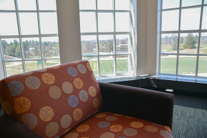 There are also places for the non-outdoorsy types on campus, such as the area in the back of the first floor in the library. With this elevation and comfy chairs, one can simply relax in the air-conditioned library and enjoy the great view that this area provides.