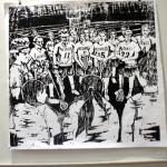 """Team,"" Lily Galzerano. Woodcut print."