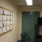 Inside M15, the multi-use classroom for detainees. On the wall are the GED diplomas of the detainees.