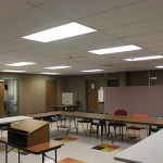 The Multi-purpose room in the basement, used for everything from GED programs to Yoga.
