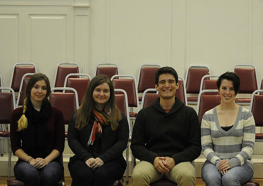 Commentary Editor Nikki Krug, Web Editor Annie Brown and co-Editors-in-Chief Daniel Valentin-Morales and Sarah Hull. Photo courtesy of Katelyn Wolf and McDaniel Yearbook Club.