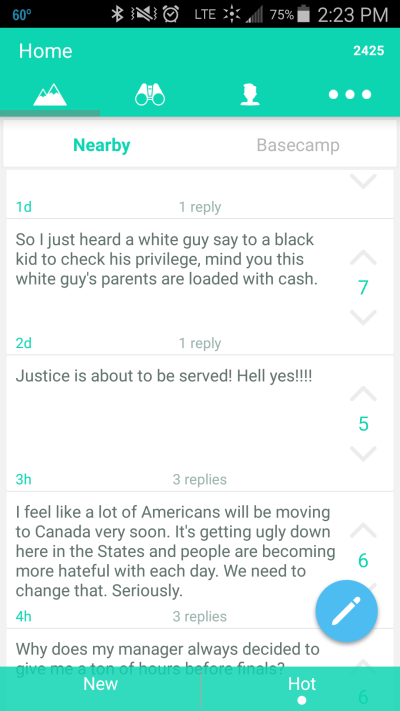 Reactions to Baltimore on Yik Yak.