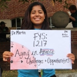 "Peer Mentor Kevlyn Moscoso gathers her peer mentees for the ""Aging in America"" FYS"