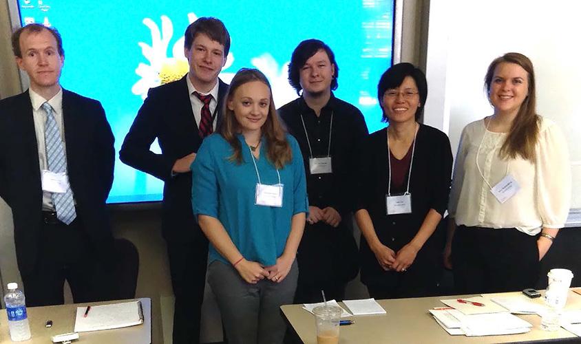 Dr. Francis Grice, John Henry Bussey, Shannon Travis, Garrett Thweatt, Lecturer Julia Lau, and Erica Brandenburg
