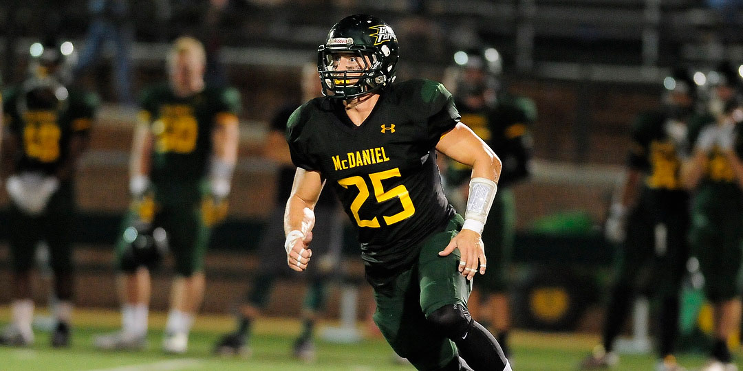 Senior Garret Diehl on the field for the first time as a Green Terror. Source: mcdanielathletics.com