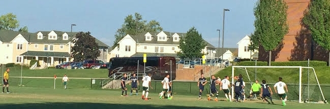 The Green Terror look to capitalize on a corner kick against Penn St.-Harrisburg on Tuesday afternoon.