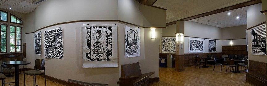 Relief print exhibit at the first floor of Hill Hall