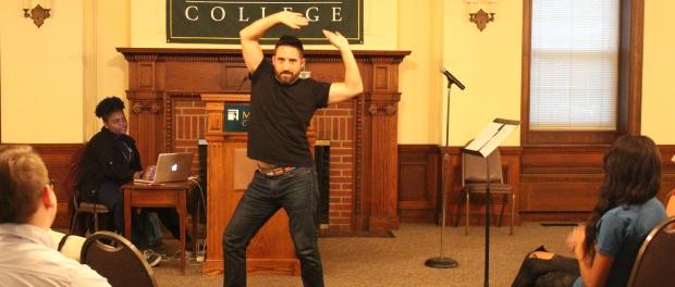 Comedian Joe Hernandez-Kolski dancing during his performance. Photo by Jimmy Calderon