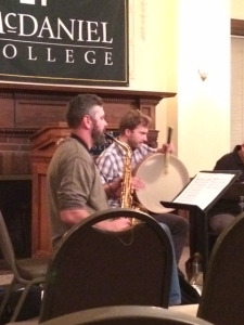 Mike Kuhl on percussion and Christ Pumphrey on alto saxophone. Photo by Emma Carter.