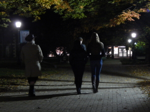 McDaniel students walking around campus during the Ghost Tours. Photo by Hannah Krauss