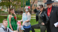 Members of McDaniel's Happiness Club handed out candy in Red Square on Halloween Eve.